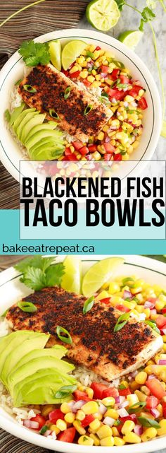These blackened fish taco bowls with corn salsa are quickly becoming a family favourite! Spicy fish, fresh avocado, and corn salsa served on rice. So good!