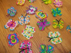 Coffee filter butterflies.  To make, use coffee filters. Fold the filters in half three times. use pre-school paint dabbers.  Open the filter and allowed it to dry.  Next, fold it in half one time and cut the filter to resemble butterfly wings (Just like  (valentins day activities for elderly)