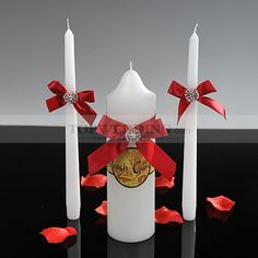 White Unity Candle Set with Red Bowknot (Set of 3)
