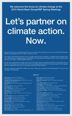 Open Letter from Global CEOs to World Leaders Urging Concrete Climate Action.  Signatories are members of the World Economic Forum in Davos. Includes Dow Chemical, HSBC, DHL, IKEA, Suntory, Toshiba.