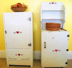 Vintage Wooden Icebox / Refrigerator & Dry Sink Set - HandMade Display Child Size Kitchen Furniture Duo - Shabby Chic Chippy Paint Cabinets $175.00 by DivineOrders