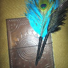 homemade peacock pens and guest book. Pirate Wedding, Wedding Girl, Dream Wedding, Wedding Stuff, Wedding Ideas, Best Friend Wedding, My Best Friend, Fancy Pens, Peacock Wedding