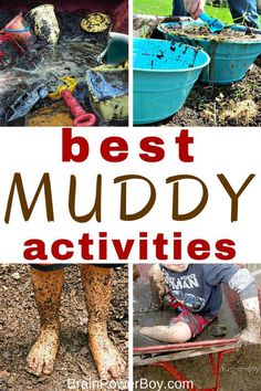 Here are the very best muddy activities ever! From simple mud play to a whole mud day you will find a wonderful selection of fun muddy ideas. Outside Activities, Nature Activities, Outdoor Activities For Kids, Outdoor Learning, Summer Activities For Kids, Sensory Activities, Sensory Play, Outdoor Play, Learning Activities