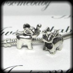 Silver Bead Spacer Charm Elephant Fits Pandora Chamilia Troll Style Bracelet