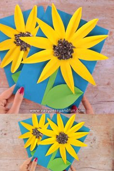Sunflower is the queen of the summer and fall, as far as flowers go and this paper sunflower craft with seeds makes a great fall craft as real sunflower seeds are used. paper crafts Paper Sunflower Craft With Seeds Bee Crafts For Kids, Summer Crafts, Toddler Crafts, Preschool Crafts, Crafts To Make, Craft Kids, Kids Diy, Fall Paper Crafts, Easter Crafts