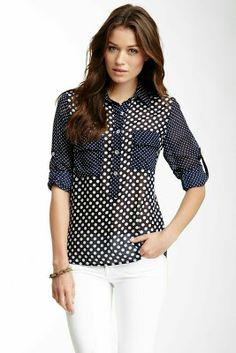 Kaya di koko combo print top on hautelook blusa ysmeri шифон блузки, полоса Casual Wear, Casual Outfits, Mode Glamour, Hijab Style, Corsage, Dress Patterns, Blouse Designs, Shirt Blouses, Dame