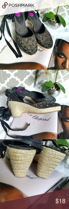 """🖤💎Like New Embellished Wedged Shoe🖤 Black closed toe embellished Summer shoes from Bare Traps.  Attractive lace up design.  Wedged heels.  Heels are 3.1""""  Size 8.5. Bare Traps Shoes Wedges"""