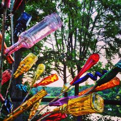 Check out this fun, whimsical outdoor art!  A bottle tree :-)