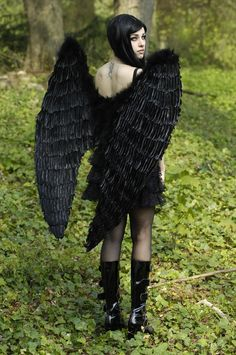 STOCK KIMBERLEY by VXLPhotography female demon devil dark black fallen angel wings goth cosplay costume LARP armor clothes clothing fashion player character npc | Create your own roleplaying game material w/ RPG Bard: www.rpgbard.com | Writing inspiration for Dungeons and Dragons DND D&D Pathfinder PFRPG Warhammer 40k Star Wars Shadowrun Call of Cthulhu Lord of the Rings LoTR + d20 fantasy science fiction scifi horror design | Not Trusty Sword art: click artwork for source
