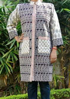 Bagh Cotton Black and White Printed Quilted Long Jacket