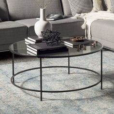 Ebern Designs Deford Coffee Table - New House - Wood Coffee Table Glass Top Coffee Table, Cool Coffee Tables, Coffee Table With Storage, Round Coffee Table, Decorating Coffee Tables, Coffee Table For Small Living Room, Futons, Best Leather Sofa, Coffee Table Wayfair