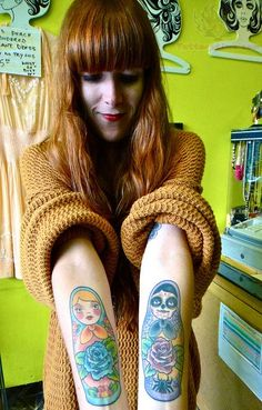 Matryoshka Dolls Tattoos On Arms