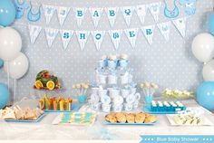 Baby shower party: decorating ideas and gifts in 55 photos! baby shower idea for the menu with sweet Baby Shower Party Deko, Décoration Baby Shower, Babyshower Party, Baby Shower Sweets, Baby Shower Gift Bags, Baby Shower Cakes For Boys, Baby Party, Baby Shower Parties, Baby Shower Themes