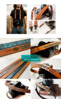 Custom Leather Camera Strap - Personalize with text, design, stain color and hardware