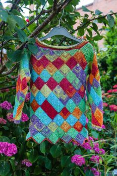 knitted patchwork rainbow sweater for T
