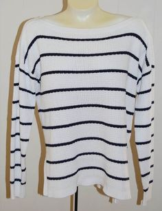 Ralph Lauren LRL Jeans Co Sweater L NWT White Navy Blue $110 Cotton Boat Neck…