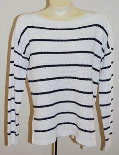 Ralph Lauren LRL Jeans Co Sweater XL NWT White Navy Blue $110 Cotton Boat Neck…