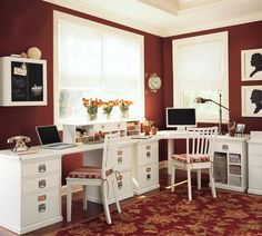 Perfect Awesome Home Office Decorating Ideas Headlining Firebrick Color Scheme Wall Paint And Presenting Executive White Gloss Paint Wood L Shaped Computer Desk For Two Person Also Equipped Simplistic Wooden Chairs Armless By Trails Back Above Dark Red Flourish Pattern Theme Carpet, Charming Excellent White Home Office Furniture For A Cozy Workspace Inspirations: Furniture, Interior, Office Room, Work Space