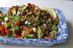 This Greek inspired lentil salad hits all the right notes – crunchy, creamy, light-yet-filling, and bursting with bright flavors. The lemony dressing will seem like too much at first, but the lenti...