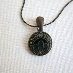 Vintage deco revival black enamel flower pendant