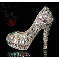 rhinestone princess high heels glass slipper #UNIQUE_WOMENS_FASHION