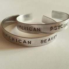 Hand-Stamped Aluminum Cuff Bracelet Set of 2 3/8 Wide  American Beauty/American Psycho by SassTags Fall Out Boy