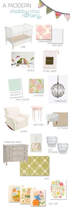 Pewter   Sage Mood Board Monday: A Modern Shabby Chic Nursery