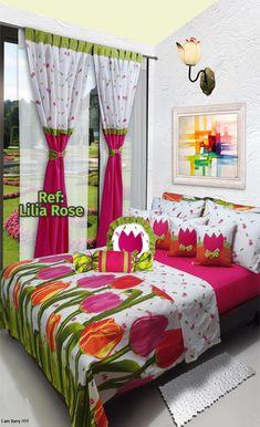 Ref: Lilia Rose🌷 Disponible en cortinas, cojines, juegos de baño y sábanas en todas las medidas: Sencilla (1mx1.90m), Semi (1.20mx1.90m), Doble (1.40mx1.90m), Queen (1.60mx1.90m) y King (2mx2m) #Layla #Dalotex #Lenceria #Hogar #Sabanas #moda #colors #Tulip #SabanasDalotex #Rose #Tulipanes #Flower #pink Bed Cover Design, Pillow Design, Designer Bed Sheets, Living Room Decor, Bedroom Decor, Indoor Outdoor Furniture, Shabby Chic Bedrooms, Diy Curtains, Bedroom Sets