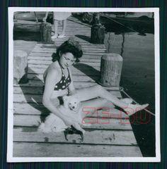vintage photo GIRL BATHING SUIT WHITE DOG SPITZ 1950s