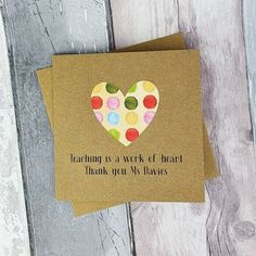 Personalised Thank you teacher card Handmade Teacher card   Etsy Teacher Thank You Cards, Be My Teacher, Handmade Thank You Cards, Greeting Cards Handmade, Handmade Gifts, Nursery Assistant, My Favourite Teacher, 60th Birthday Cards, Hand Logo