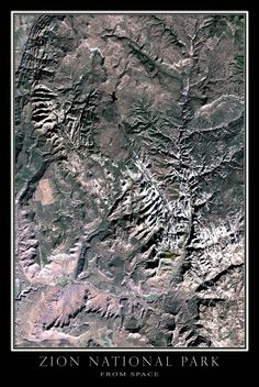 Zion National Park Utah Satellite Poster Map