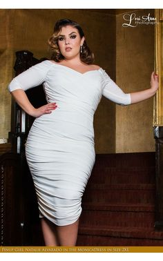 Laura Byrnes- Monica Dress in Off-White Matte Jersey Knit   Pinup Girl Clothing