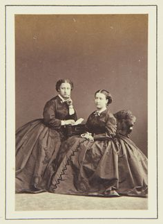 Princess Louise and Princess Helena, 1864 [in Portraits of Royal Children Vol.7 1863-1864]   Royal Collection Trust