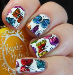 Powder Perfect - Stained Glass Polishes -  EASY nail art using UberChic Beauty Nail Stamp plates! Need easy nail art ideas? Try nail stamping! It's easy AND affordable - plus you can reuse it time and time again! Where Jamberry is a one time use - these you can use over and over with any color you'd like! Nail stamping is so much fun! I love it!!!