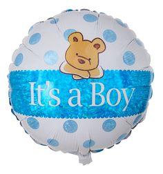"""Für Ihre Glückwünsche zur Geburt eines Jungen ist dieser süße Heliumballon mit Bärchenmotiv genau das richtige Ballongeschenk. Die zarten hellblauen Punkte auf weißem Untergrund sowie die glänzend blaue Schärpe, die mittig über den Ballon verläuft und die Aufschrift """"It's a Boy"""" trägt, werden durch den süßen Bären perfekt ergänzt."""