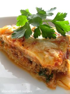 Almost Turkish Recipes: Baked cabbage with ground meat: no pasta lasagna - very good