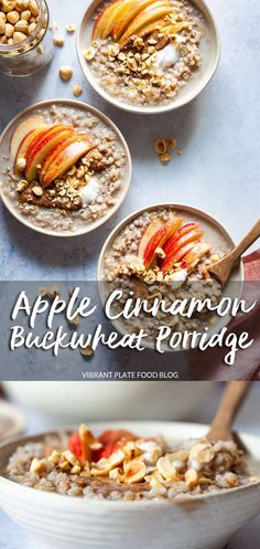Apple Cinnamon Buckwheat Porridge Is An Easy And Delicious Warm Breakfast, Perfect For Meal-Prep. Vegetarian and Gluten-Free. Raw Dessert Recipes, Gluten Free Recipes For Breakfast, Vegetarian Breakfast, Raw Food Recipes, Brunch Recipes, Freezer Recipes, Drink Recipes, Superfood Recipes, Vegetarian Meals