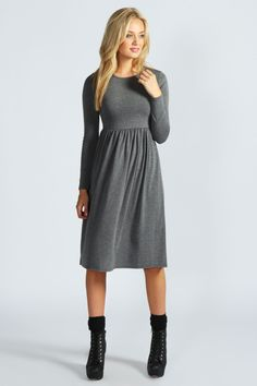 Mia Long Sleeve Midi Dress at boohoo.com