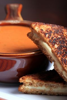 Smoky Tomato Soup with Vegan Grilled Cheese. (includes recipe to make the 'cheese')