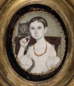 One of a pair of folk art watercolor miniature portraits (c. - Mason family, Dauphin Co. Miniature Portraits, Miniature Paintings, Art Through The Ages, Primitive Folk Art, Indian Art, Cat Art, Illustration Art, Cat Illustrations, Watercolor Art