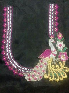 Peacock neck blouse Embroidery Works, Embroidery Suits, Hand Embroidery Designs, Simple Blouse Designs, Blouse Neck Designs, Maggam Work Designs, Designer Blouse Patterns, Peacock Design, Thread Jewellery