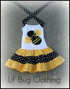 Custom Boutique Clothing Black Yellow Bumble by LilBugsClothing Little Dresses, Little Girl Dresses, Girls Dresses, Dress Girl, Bug Clothing, Boutique Clothing, Doll Clothes Patterns, Girl Doll Clothes, Black Polka Dot Dress
