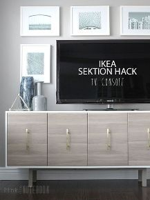 ikea sektion hack tv console, appliances, doors, home decor, kitchen cabinets, kitchen design
