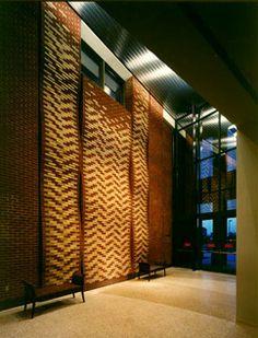 Brick Sculpture Wall, Custom Pattern - Eastman Business Center, Kingsport, Tennessee Kingsport Tennessee, Business Centre, Brick, Sculpture, Architecture, Wall, Pattern, Room, Home Decor
