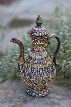 No automatic alt text available. Mandala Art, Mandala Painting, Glass Bottle Crafts, Bottle Art, Dot Art Painting, Ceramic Painting, Pottery Kiln, Decorative Gourds, Ukrainian Art