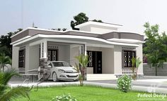 This simple 2 bedroom floor plan with roof deck is having a total floor area of 75 square meters of the main floor not including the roof deck area. This can be built in a lot with 156 square meter… Single Floor House Design, House Roof Design, Flat Roof House, 2 Storey House Design, Simple House Design, Modern Bungalow House, Modern House Plans, Small House Plans, Modern Bungalow Exterior