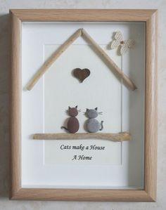Basteln Einfach U0026 Basteln Mit Kindern. DIY Idee Zum Selbermachen. Pebble  Art Framed Picture Cats Make A House A Home Von