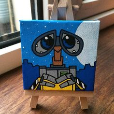 Finished Wall-E Mini Canvas WallE Disney minicanvas miniature robot Disney Canvas Paintings, Disney Canvas Art, Cute Paintings, Acrylic Painting Canvas, Simple Paintings On Canvas, Easy Canvas Art, Small Canvas Art, Mini Canvas Art, Canvas Canvas