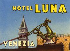 Hotel Luna - Venezia (luggage label), 1930 - Artist Unknown