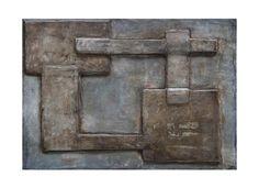 Dov'è l'uscita? cartone, cemento, terre naturali, bitume su tavola cm 34 x 24 2011
